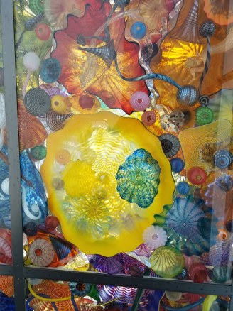 Surrounded by Chihuly glassworks in Tacoma